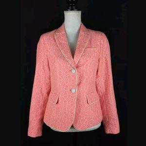 Gap neon pink geometric academy blazer